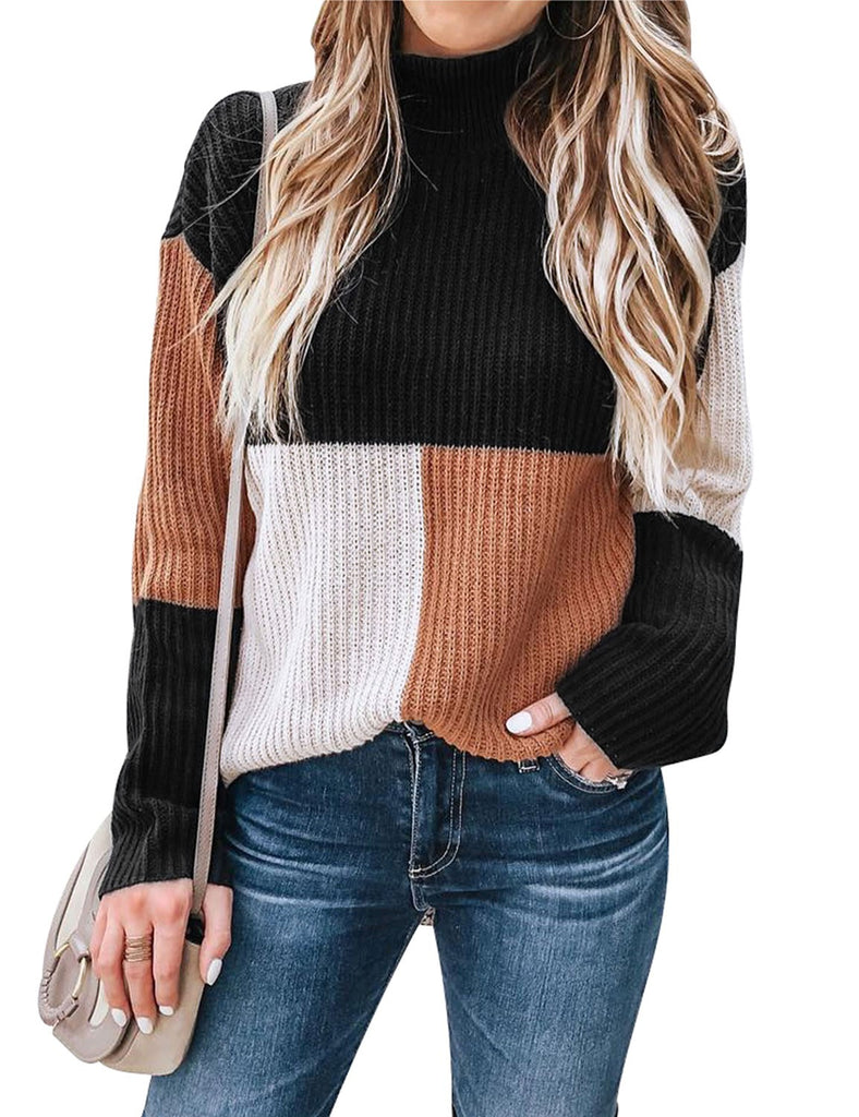 Nlife Women High Neck Long Sleeves Geometric Stitching Color Block Casual Pullover Ribbed Sweater Tops