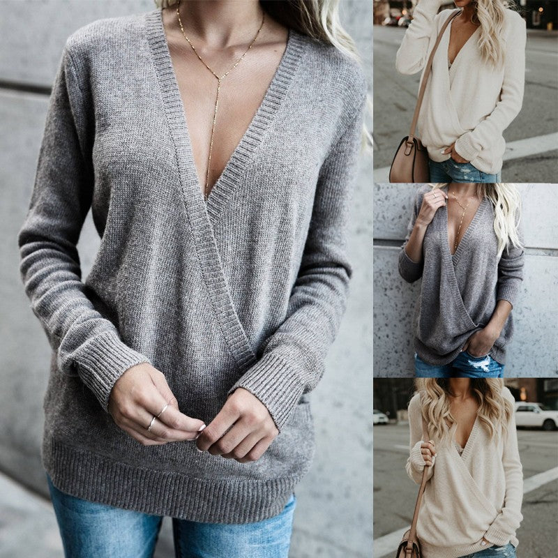 Plus Size Womens V Neck Wrap Tops Front Cross Long Sleeve Casual Loose Jumper Sweater Knitted Blouse Tops Sweatshirt