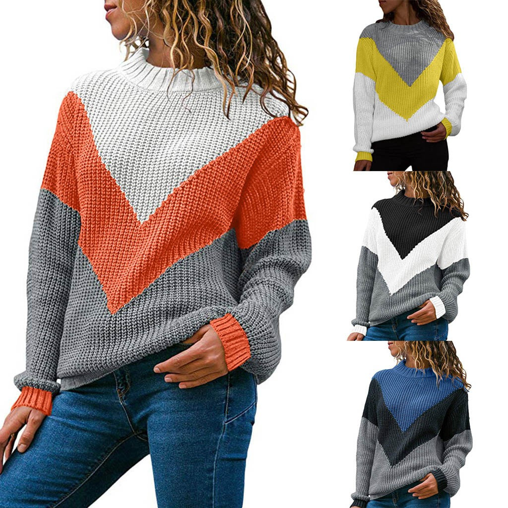 Women Round Neck Color Block Long Sleeve Knitted Sweater Tops Pullover Jumper