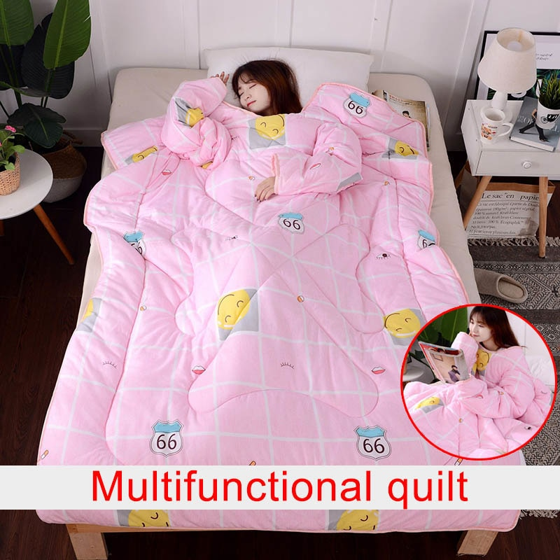 Multifunction Lazy Quilt with Sleeves Winter Warm Thickened Washed Quilt Blanket 2018ing