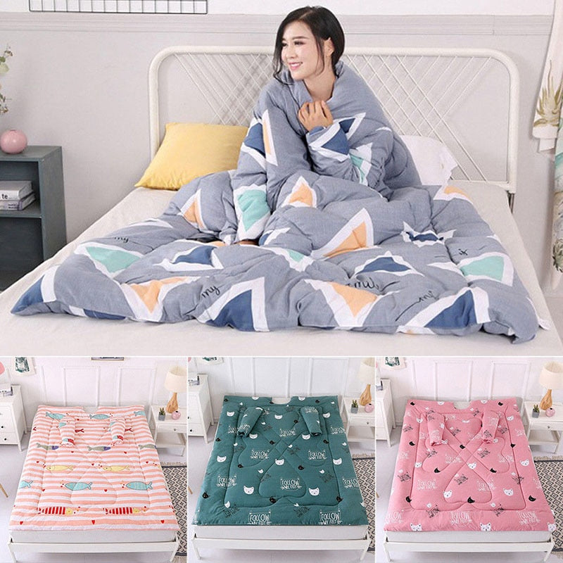 Lazy Quilt 47 x 59 inch Washable Warm Thick Comforter with Sleeve Winter Duvet  Hot Sale