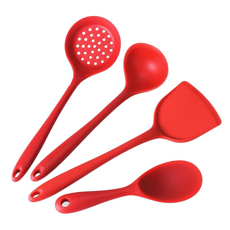 4pcs/Set Silicone Spatula Turner Slotted Spoon Ladle Spoon Spatula Silicone Kitchenware Set Kitchen Cooking Tools