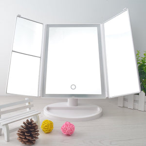 Desktop 36LED Facial Makeup Mirror Compact Size 180 Degree Rotation Tabletop Cosmetic Makeup Mirror With Magnification new