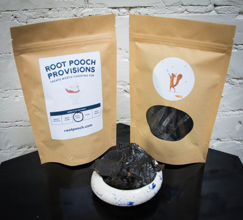 Beef liver treats displayed in Root Pooch packaging