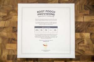 Root Pooch Provisions dog treat advent calendar information on back of product