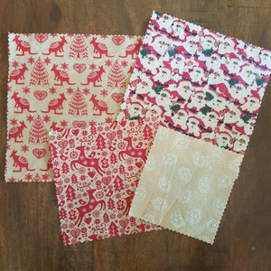 Christmas Beeswax Food Wraps (4 Pack)