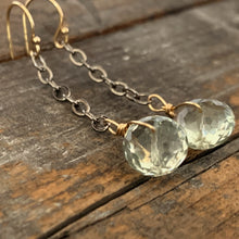 Chain Drop Gem Earrings / Green Amethyst