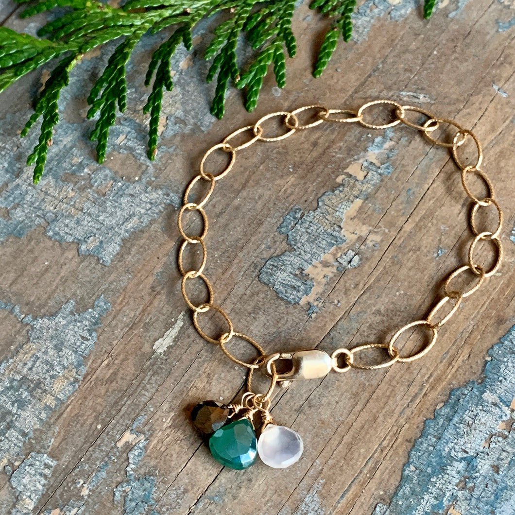 Gem Trio Bracelet - Green / Gold Filled