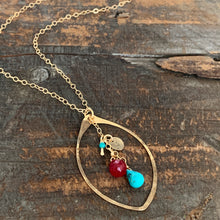 Cali Necklace / Leaf/ Turquoise