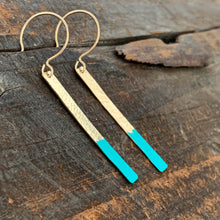 Gold Bar Patina Earrings