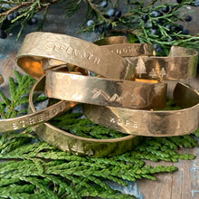 Stamped Cuff Bracelet / 5 Pine Trees -Wide