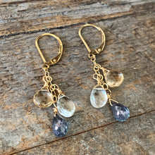 Gem Trio Earrings - Blue