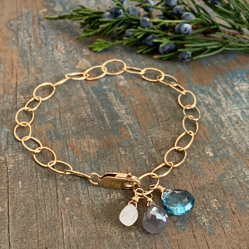 Gem Trio Bracelet - Blue/Gold Filled