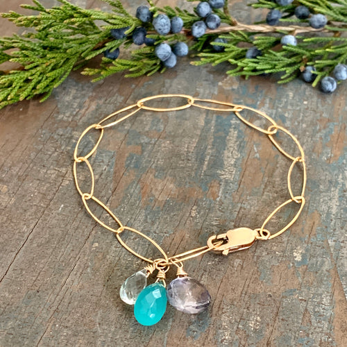 Gem Trio Bracelet - Aqua / Gold Filled