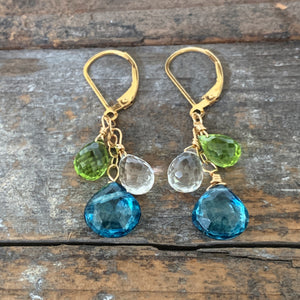 Gem Trio Earrings - Lime