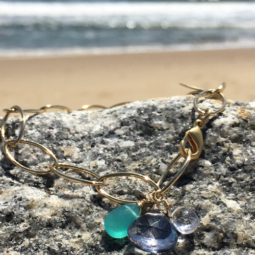 Gem Trio Bracelet / Blue