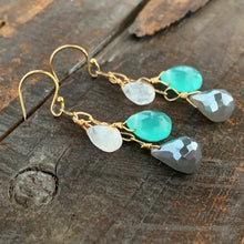 Gem Trio Earrings - Aqua