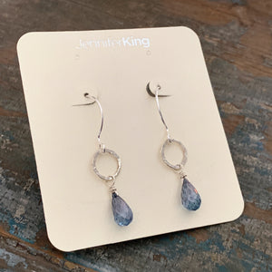 Sarina Earrings / Silver + Blue