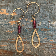 Quest Earrings / Open Teardrop • Garnet