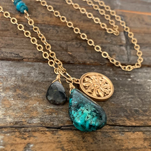 Long Charm Trio Necklace / Turquoise