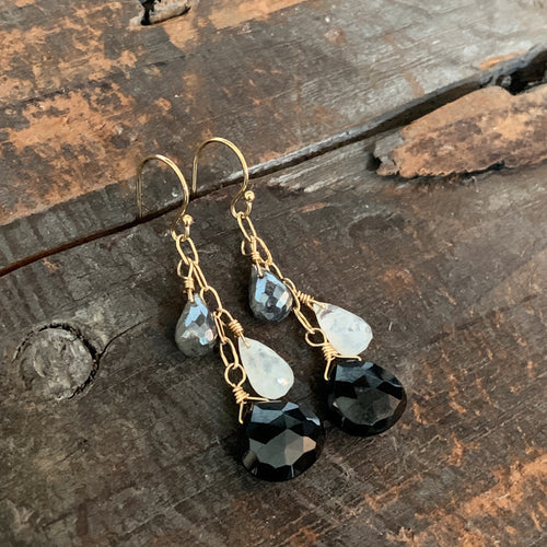 Gem Trio Earrings - Black