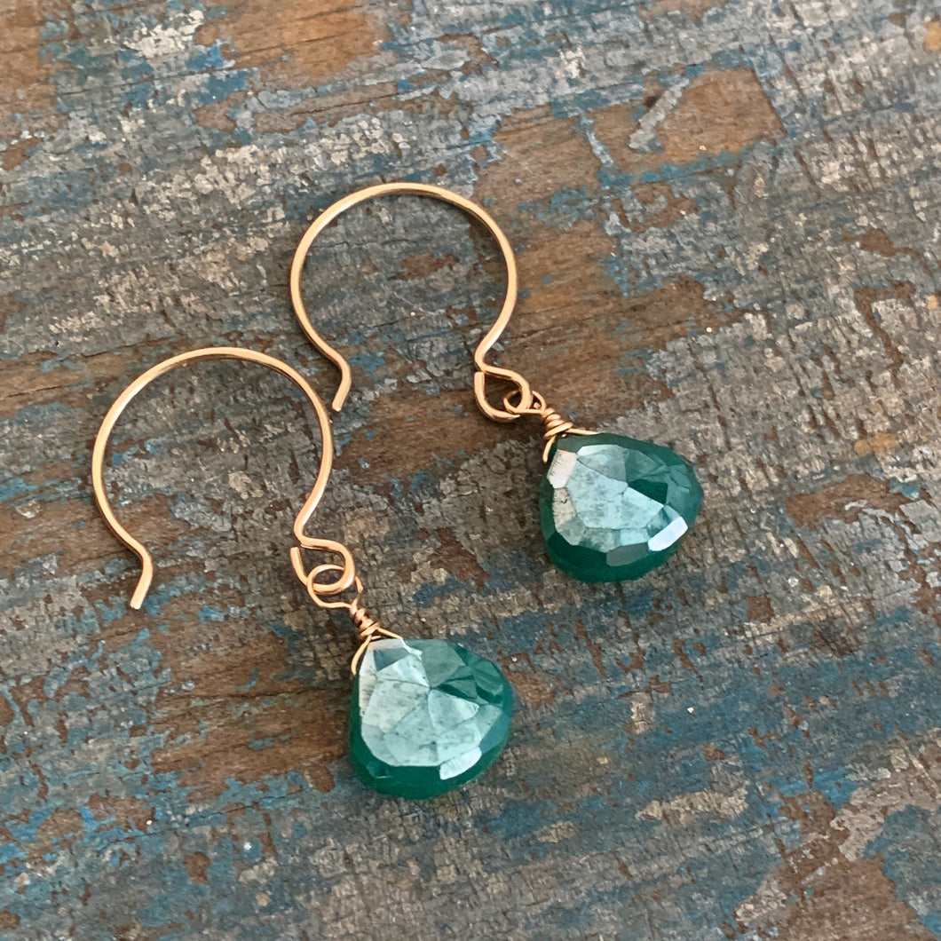 Gem Drop Earrings / Green