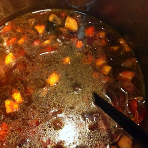Roast root vegetables in ginger puer (pu-ehr) broth. Vegan and Gluten free.