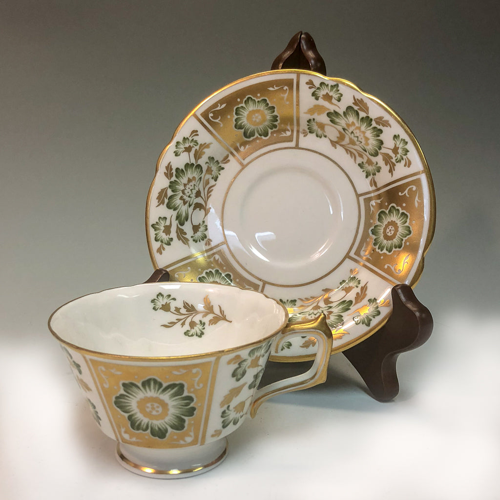 Green Derby Panel Teacup and Saucer - Tea and Chi