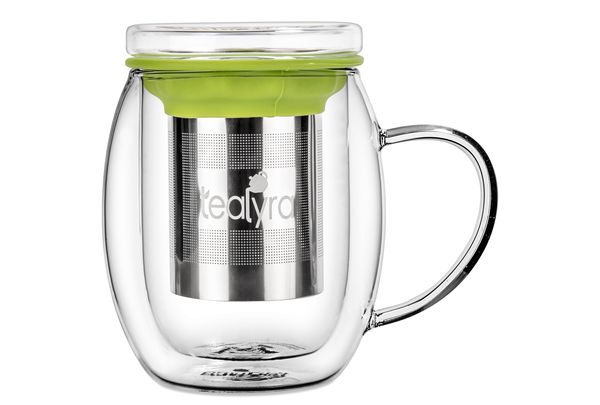 Double-walled, glass infuser cup
