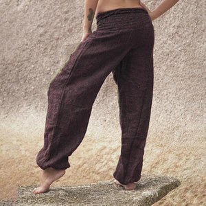 Women's Linen Wide Legged Pockets Yoga Harem Pants