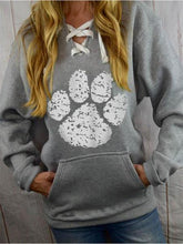 Load image into Gallery viewer, Women's Dog Claw Print Casual Lace Up Hoodie
