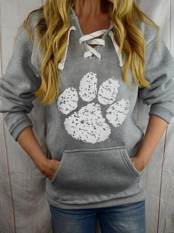 Women's Dog Claw Print Casual Lace Up Hoodie