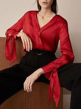 Load image into Gallery viewer, Red V-neck Tie Cuff Long Sleeve Blouse