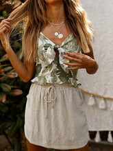 Load image into Gallery viewer, White V-neck Leaf Print Tie Front Ruffle Trim Cami Top