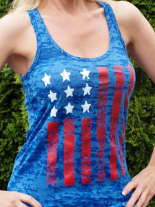 4th Of July  American Flag Tank Top