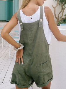 Women's Pure Cotton Linen Casual Jumpsuit Shorts