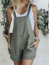 Load image into Gallery viewer, Women's Pure Cotton Linen Casual Jumpsuit Shorts