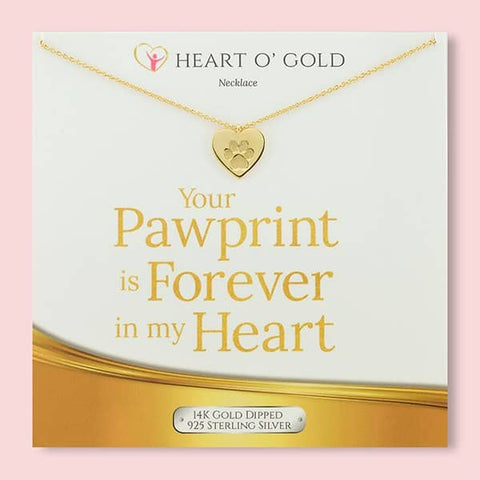 Image of Paw Print Heart Necklace