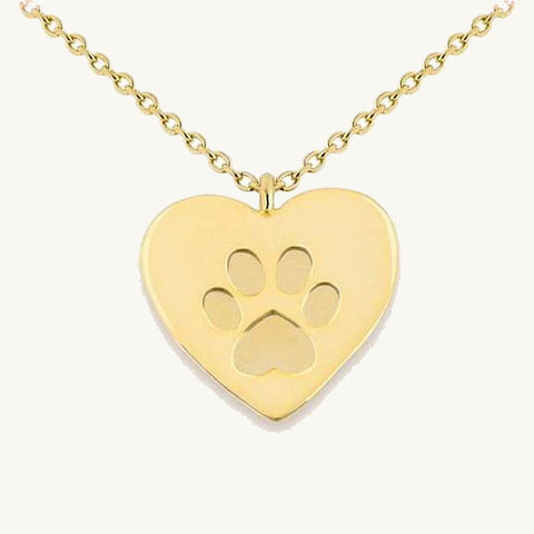 Paw Print Heart Pendant Necklace