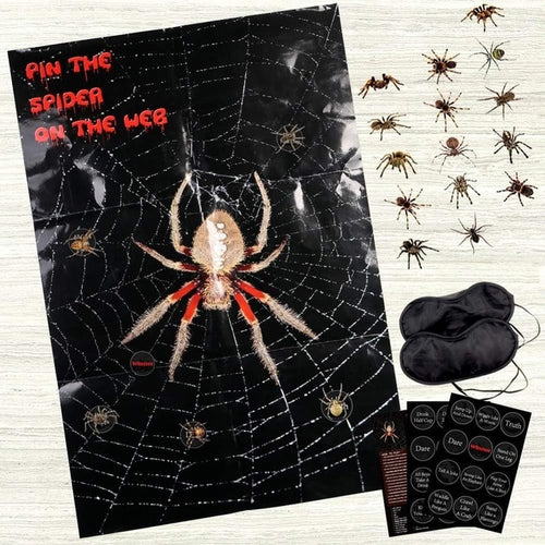 Pin The Spider On The Web - Halloween Wall Sticker Game