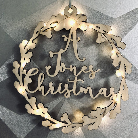 Circular personalised illuminated wreath