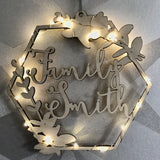 Hexagonal bud personalised illuminated wreath
