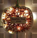 Wood and Wool Pumpkin Trail Hanging