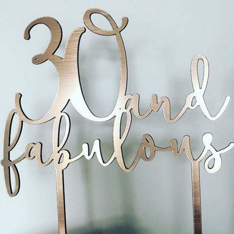 Bespoke personalised laser cut cake topper suitable for celebration cakes available in wood, gold, silver, rosegold, silver glitter and gold glitter