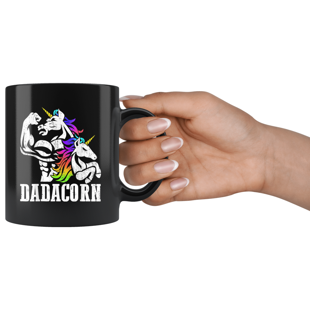Vintage Dadacorn Unicorn Muscle Dad And Baby Fathers Gift Mug