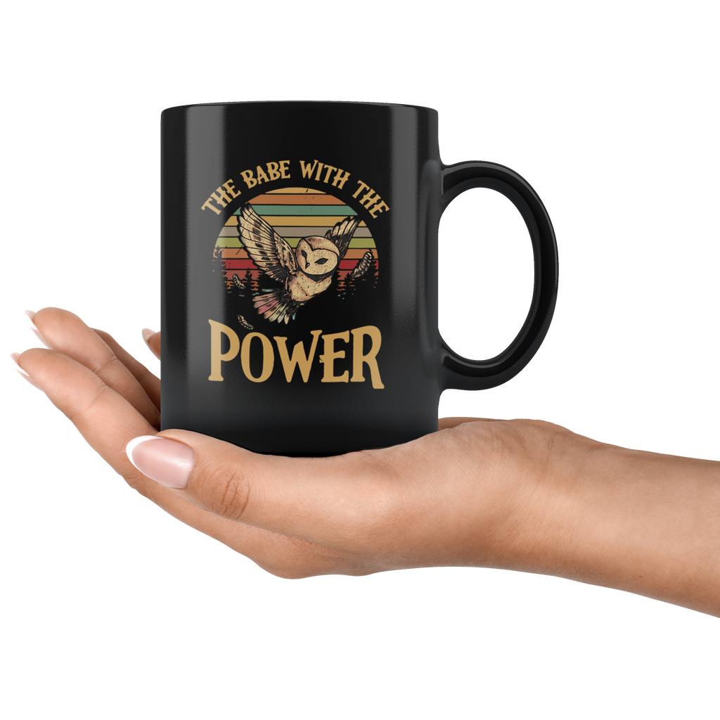 Retro Sunset Vintage The Babe with The Power Owl Mug Cup Coffee