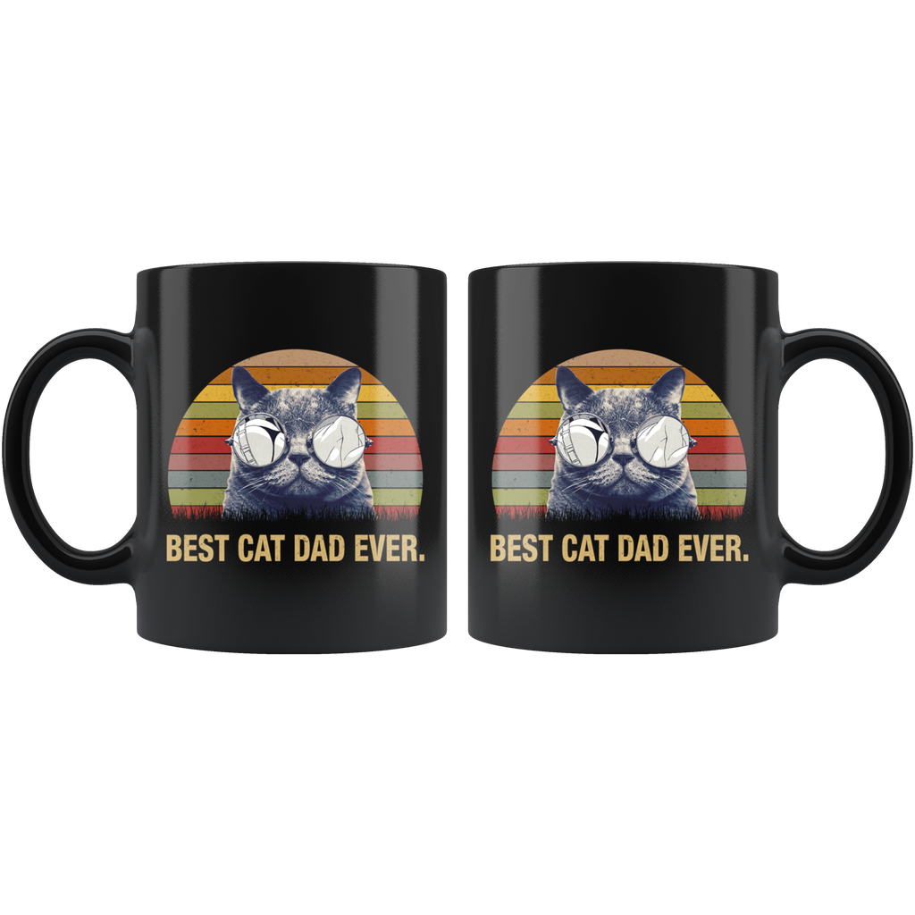 Vintage Best Cat Dad Ever Mug Funny Father Daddy Cat