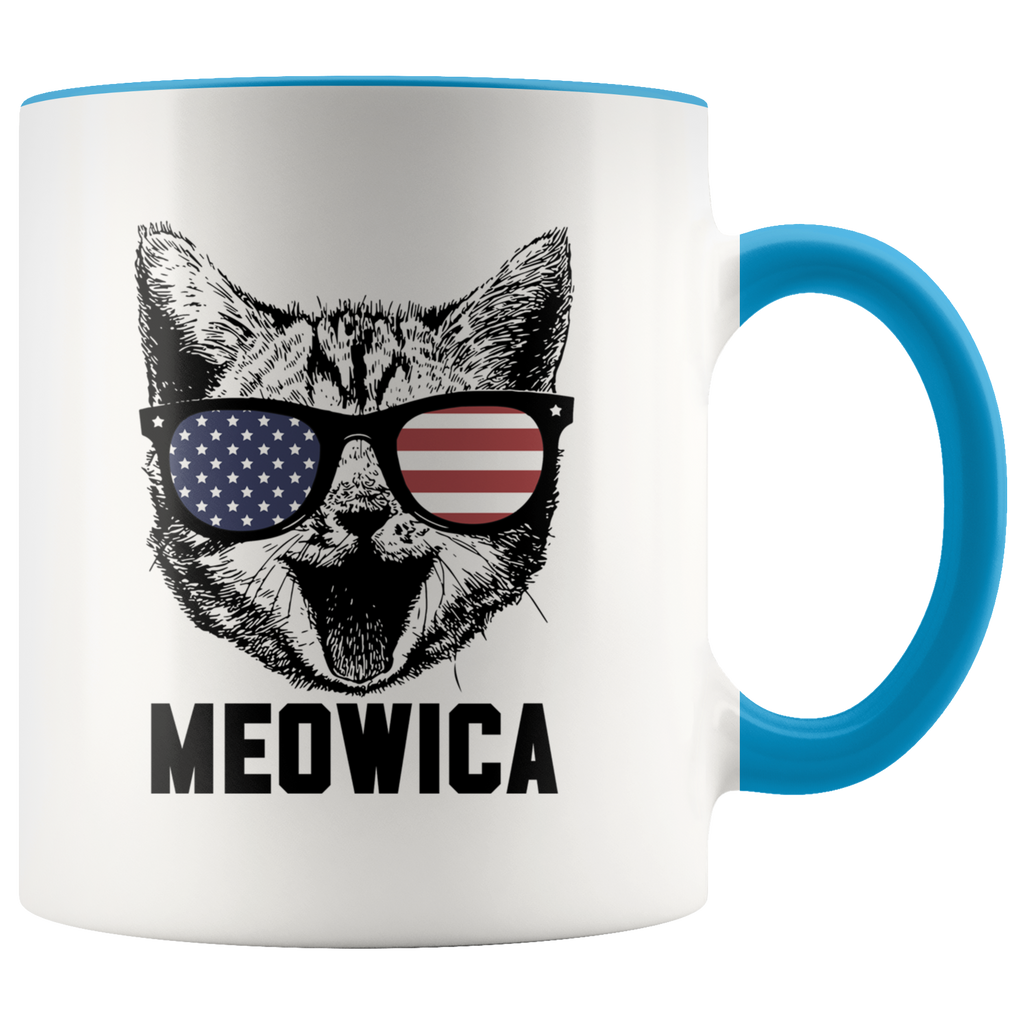 Funny Cat Meowica 4th Of July Gift Mugs