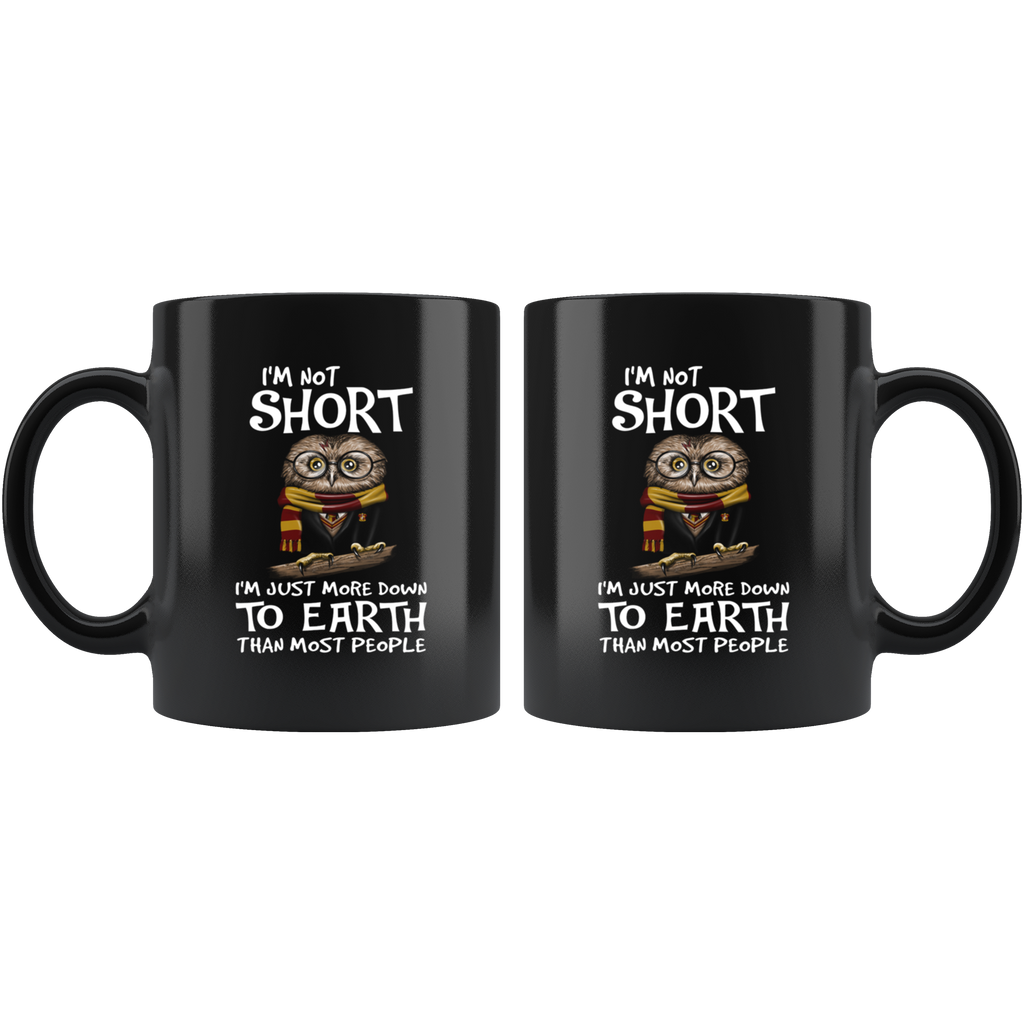 I'm Not Short I'm Just More Down To Earth Than Most People Funny Owl Mug Cup Coffee