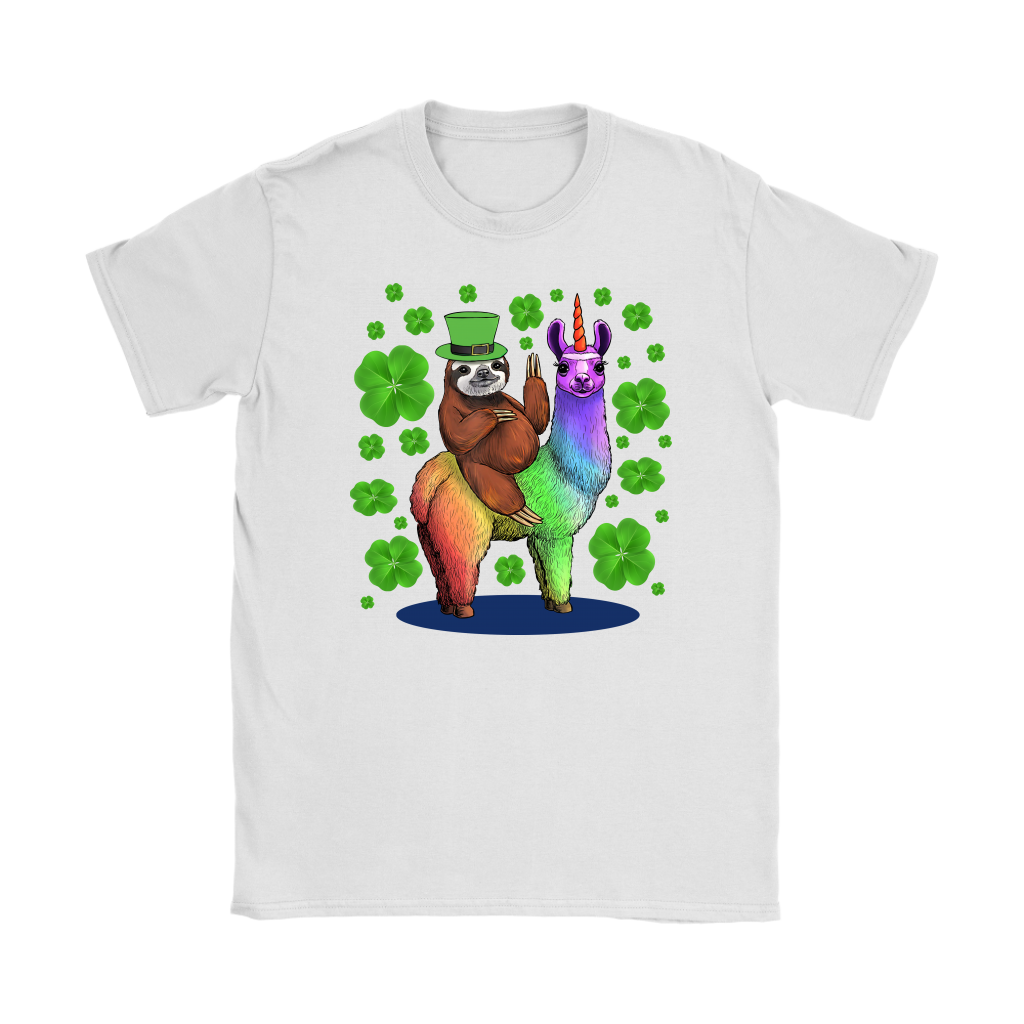 Leprechaun Sloth Riding Llama Unicorn St Patricks Day T Shirt